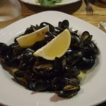 Mussels in a garlic, white wine and herb cream sauce
