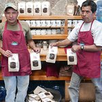 Zacarias and Nicolas just roasted and bagged our organic coffee.