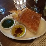 Bread with balsamic oil and pesto