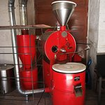 The huge coffee roaster/grinder that they use to prepare a few of the best Peruvian coffees.