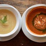 Chilled Vegan Vichyssoise - Creamed Leek & Potato; Watermelon Gazpacho - Crumbled Feta & Basil O