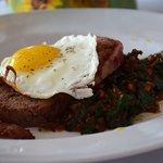 Bison Meatloaf - Bacon Wrapped, Fried Egg, Mushroom & Lentil Hash