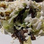 Patron sampler appetizer, shrimp enchiladas, and sopas plate