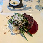 Grilled filet mignon, bacon mashed, haricot verts, port wine demi-glace
