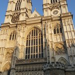 Beautiful sun hitting the front of Wesminster Abbey