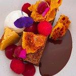 Chocolate Brownie, honeycomb, raspberry, chantilly