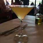 Drink menu, my martini, my sea bass and view from my table