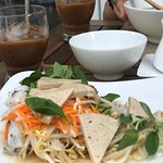 Awesome breakfast (no extra cost). I got the rice wrap with pork, beef noodle soup, pancakes, an
