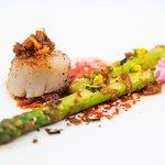 Wok-seared Hokkaido scallop, asparagus with X.O sauce