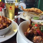 Amazing wings, bacon and cheddar wedges and fish and chips!