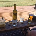My yummy mango smoothie & hubby's beer at the front of the deck.