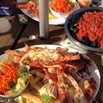 seafood platters with fresh oysters & lobsters, grilled fish skewers, bbq octopus, chilli mussel