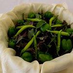Restaurant, Greens (Basil, Green bell pepper, Chili pepper)