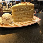 4 layer caramel cake with ice cream