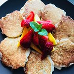 Pancakes with local fruits for breakfast