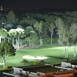 View of the golf course lit up at night