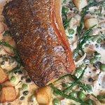 Pan fried Hake with potato and samphire