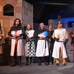My son, Paul, 3rd from right, in Monty Python play.
