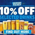 10% off selected drinks during the Football showing on our 4khd Big Screen, join up today!