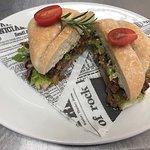 Marinated beef & pork sandwich