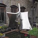 Attractive sculpture on the patio