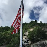 flag at the top of Chimney Rock