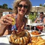 Enjoying the fresh grilled squid!