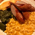Mac and cheese, sausages, greens