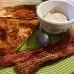 My Bacon & Hard Poached Eggs with grilled sourdough bread.