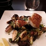 Walleye over brussel sprouts