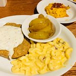 Chicken Fried Steak, with mac and cheese, fried apples and loaded casserole