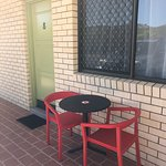 Outdoor seating outside of room
