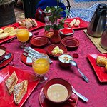 a different delicious breakfast and tablecloth another day
