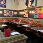 Smoking Fox Restaurant has Andy Warhol style of prints cosy place not so noisy as pub