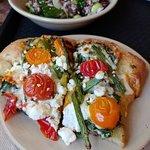 Heirloom tomato, kale & asparagus flatbread + wild rice salad with cranberries, kale & edamame!