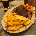 Chicken, ribs, pork, sausages, onion rings, chunky chips!