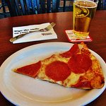 Slice of Pepperoni and a domestic pint of beer