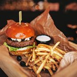 Burger with patato fries