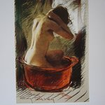 """The red bowl"" pastel by Roy Petley"