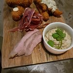 House Smoked Duck Breast, Haddock Fish Fingers, Mackerel Pate, Ham Hock Croquets & Air-Dried Ham