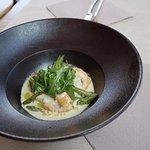 Risotto aux crevettes et son coulis crémé aux asperges vertes