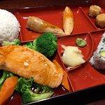 Bento box with teriyaki salmon
