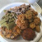 Okra, pulled pork, fried chicken
