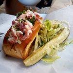 Lobster Roll with a pickle...mmmmmmm