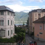 View of Lake Maggiore and mountains from balcony