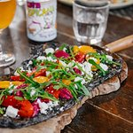Charcole Flat Bread - Beetroot, Roast Peppers and Feta Puree