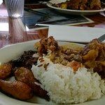 Oxtail Stew, white rice and sweet plantains