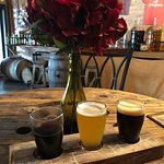 Order and flight and you can mix & match! I got 1 bourbon barrel aged red and 2 different beers.