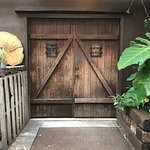 The door of outside seating area. Whole place was very rustic.