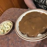 roast beef with gravy and macaroni salad